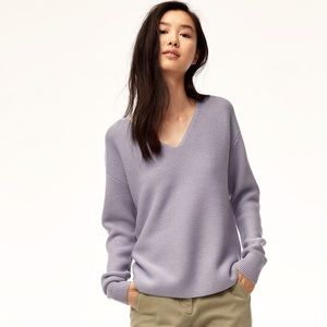 Aritzia Wilfred Wolter V-Neck Lilac Purple Sweater